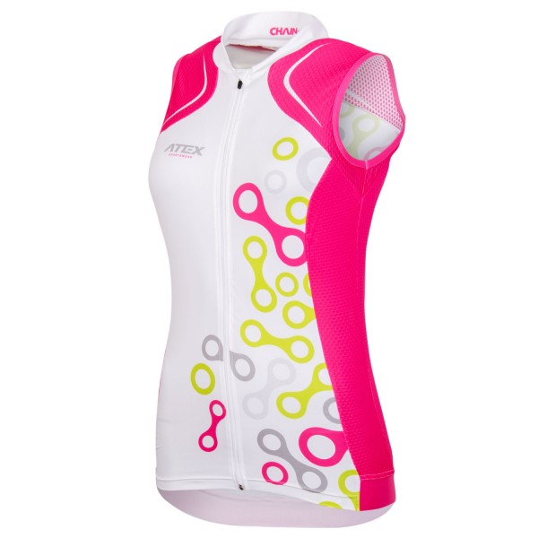 Women's sleeveless cycling jersey ELEMENT white-pink