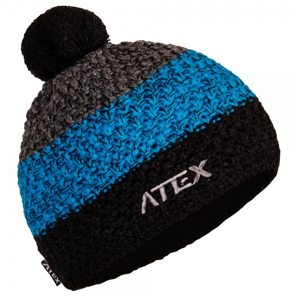 Knitted hat KNIT gray-blue stripes